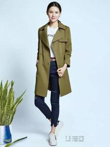DS点裳女装2017春季新品军绿色风衣