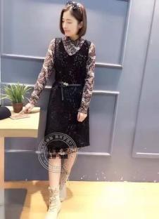 格蕾斯2017年春季新款系带连衣裙