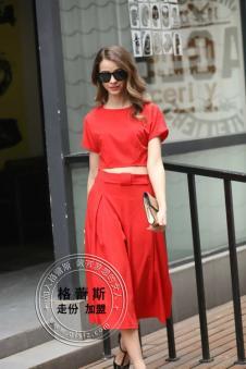 格蕾斯2017年春季新款红色连衣裙