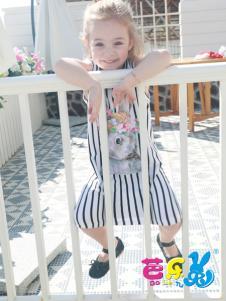 芭乐兔17春夏新款女童格子裙