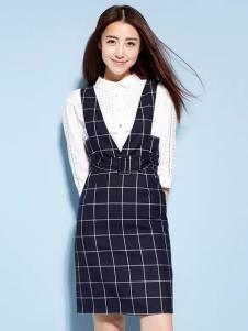 YOSUM蓝色格纹V领背带裙