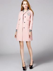 顿妮娅女装粉色休闲外套