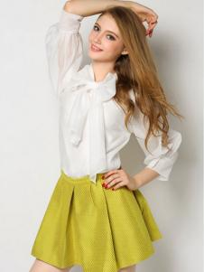 YOSUM白色雪纺衬衫