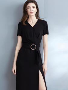允硕17春季新款黑色时尚连衣裙