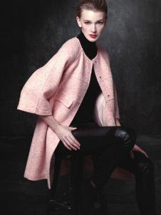 顿妮娅女装粉色无领廓形大衣