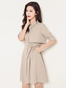 YOSUM灰色风衣款连衣裙