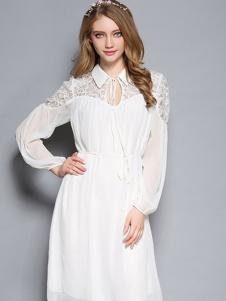 YOSUM白色雪纺露肩长裙