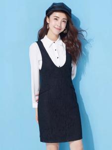 优尚美黑色V领H版连衣裙