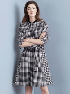 允硕17春季新款格子连衣裙