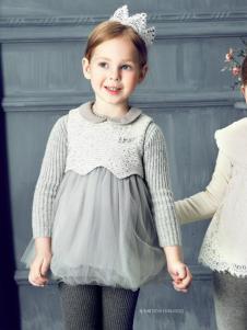 豆豆衣橱童装豆豆衣橱童装女童银灰色纱裙