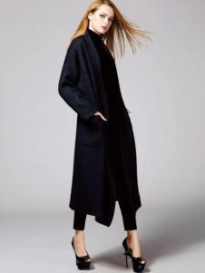 顿妮娅女装黑色长款廓形大衣