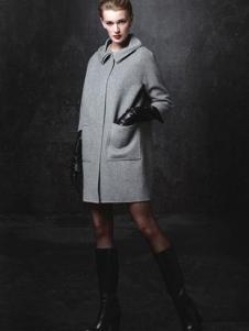顿妮娅女装灰色修身大衣外套