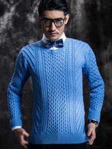 度比古卡男装蓝色针织套头衫