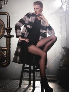 顿妮娅女装条纹中长款大衣