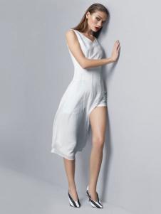 DUNNU敦奴女装白色雪纺裙