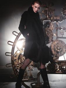 顿妮娅女装黑色修身显瘦大衣