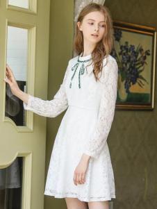 YOSUM春夏白色蕾丝长裙