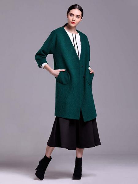 樊羽女装绿色V领针织衫