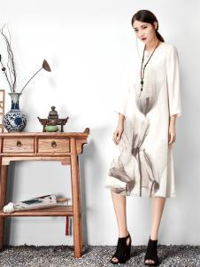 水墨生香白色九分袖印花连衣裙