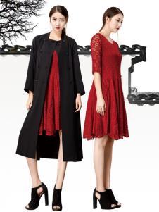 水墨生香春夏红色蕾丝百褶裙