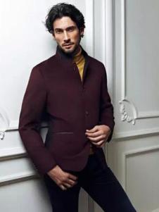 鄂尔多斯男装酒红色大衣