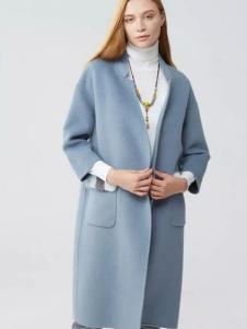 范可儿女装蓝色双面尼大衣