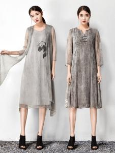 水墨生香灰色中式印花连衣裙