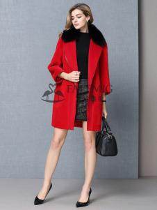 法拉鸣歌女装红色毛领呢大衣