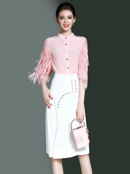 YOSUM2017春季白色收腰半裙
