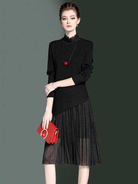 YOSUM春季黑色百褶半裙