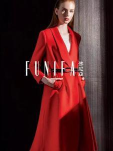 佛尼亚女装大红色翻领收腰外套