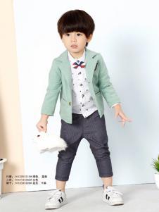 兔子杰罗男童绿色短外套