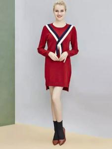 纷漫女装红色连衣裙