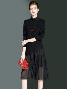 优尚美春季黑色百褶半裙