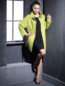 菲亚非女装亮绿色大衣