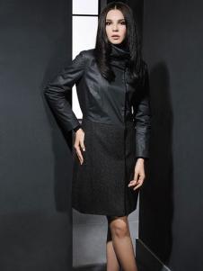 菲亚非女装黑色修身立领外套