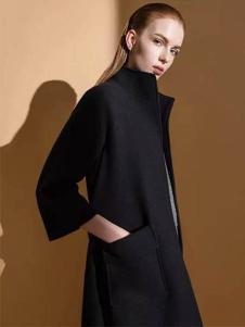 佛尼亚女装黑色长款修身大衣