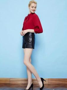 纷漫女装红色七分袖上衣