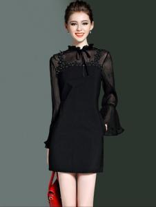 优尚美黑色拼接蓬蓬袖连衣裙