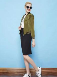 纷漫女装军绿色休闲外套