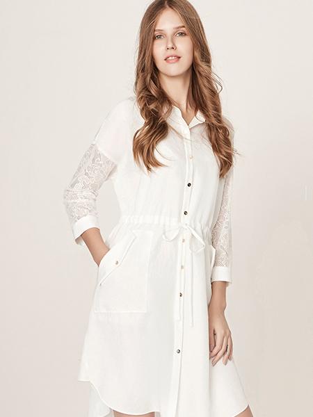 五色五图春夏白色衬衣版连衣裙