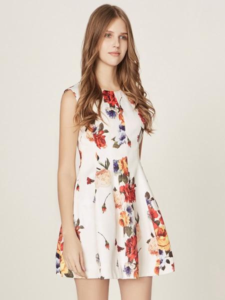 五色五图夏季无袖印花连衣裙