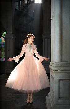 固执obstinate2017女装春季新款文艺复古拼接蕾丝公主裙