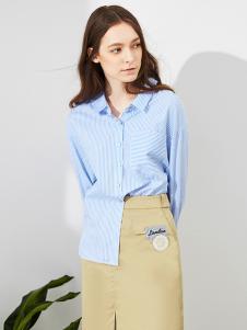 五色五图春季天蓝色休闲衬衫