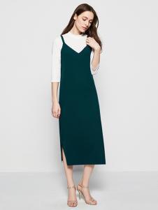 五色五图绿色N版V领背带裙