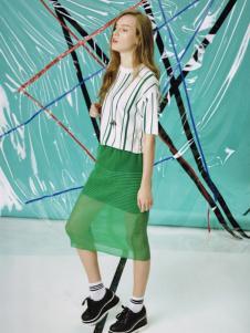 五色五图春夏绿色假两件半裙