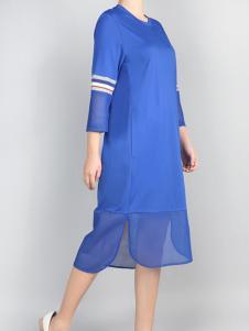 零时尚17春季新款蓝色连衣裙