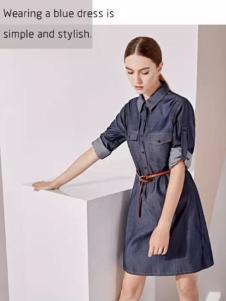 哥邦女装2017春季新品牛仔布料连衣裙