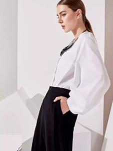 哥邦女装2017春季新品个性白衬衫