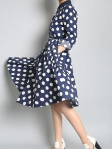 零时尚17春新款波点连衣裙